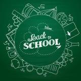 Popiera szkoły literowanie w doodle okręgu na zielonym chalkboard tle Obraz Stock