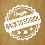 Popiera szkoły pieczątki biel na zmiętym papierowym brown tle Fotografia Stock