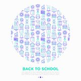 Popiera szkoły pojęcie w okręgu z cienkimi kreskowymi ikonami: plecak, dzwon, książka, mikroskop, wiedza, chemia, matematyka, ilustracji