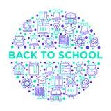 Popiera szkoły pojęcie w okręgu z cienkimi kreskowymi ikonami: plecak, dzwon, książka, mikroskop, wiedza, sowa, chemia, matematyk ilustracji