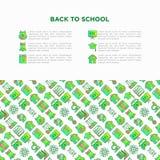 Popiera szkoły pojęcie z cienkimi kreskowymi ikonami: plecak, dzwon, książka, mikroskop, wiedza, sowa, skalowanie nakrętka, autob ilustracja wektor