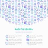 Popiera szkoły pojęcie z cienkimi kreskowymi ikonami: plecak, dzwon, książka, mikroskop, wiedza, sowa, skalowanie nakrętka, autob royalty ilustracja