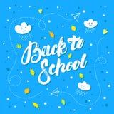 Popiera szkoły ręka pisać literowanie na błękitnym tle Zdjęcia Stock
