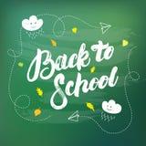 Popiera szkoły ręka pisać literowanie na chalkboard tle Obraz Stock