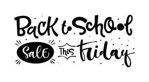 Popiera szkoły sprzedaż ten Piątek wycenę Popiera szkoły sprzedaży czarny i biały ręka rysująca piszący list logo zwrot royalty ilustracja