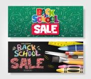 Popiera szkoły sprzedaży reklamy Horyzontalny sztandar Ustawiający z Kreatywnie ręka Rysującym Doodle ilustracja wektor