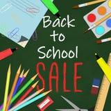 Popiera szkoły sprzedaży tło z szkolnymi dostawami, chalkboard i tekstem, również zwrócić corel ilustracji wektora Zdjęcie Royalty Free