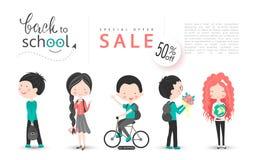 Popiera szkoły sprzedaży wektorowy tło z uczniami Wektorowa ilustracja dla strony internetowej, plakatów, emaila i gazetka projek royalty ilustracja