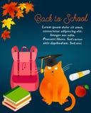 Popiera szkoły tło z jesień liśćmi, kotem, magisterskim kotem, plecakiem, książkami, jabłkiem i tekstem, royalty ilustracja