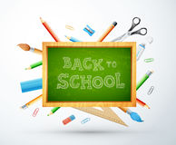 Popiera szkoły wektorowa ilustracja z kredową deską, ołówek, rul Obrazy Stock