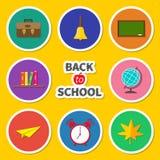 Popiera szkoły ikony round set Zielona deska, dzwon Obrazy Stock