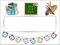 Popiera szkoła znak, coloured budziki, Schoolbag Fotografia Royalty Free