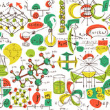 Popiera szkoła: laboratorium naukowe przedmiotów doodle rocznika styl kreśli bezszwowego wzór, Obrazy Royalty Free