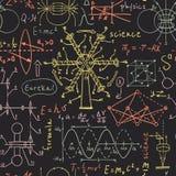 Popiera szkoła: laboratorium naukowe przedmioty Doodle rocznika nakreślenia projektują bezszwowego wzór Zdjęcie Stock