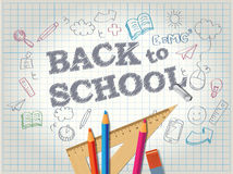 Popiera szkoła plakat z doodles Obrazy Stock
