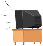 Popiera telewizja na półce royalty ilustracja
