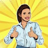 Popkonst gillar upp den lyckade kvinnliga affärskvinnavisningtummen Som gest vektor illustrationer
