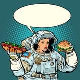 Popkonst Kvinnaastronautet äter Cola, varmkorv och snabb foo för hamburgare royaltyfri illustrationer