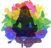 Popkonst också vektor för coreldrawillustration Sammanträde för den unga kvinnan i yogalotusblomma poserar Meditera flickaillustr Fotografering för Bildbyråer