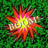 Popkonst Pråligt explosion på en grön bakgrund stock illustrationer