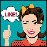 Popkonst som blinkar kvinnan med tummar gör en gest upp stock illustrationer