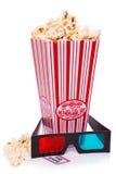 Popkorn, 3D szkła i bilet,   Zdjęcia Royalty Free