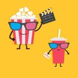 Popkorn pudełkowaty i sodowani szklani charaktery trzyma clapper deskę w 3D szkłach, bilet Kinowej ikony projekta płaski styl Obrazy Stock