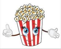 Popkornu charakteru kreskówka śliczna i śmieszna popkornu wektoru ilustracja ilustracja wektor