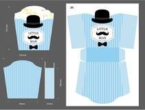 Popkornu papierowy pudełko Opakowanie dla cukierki stołu Printable szablon dla małego mężczyzna ` s urodziny Obraz Stock