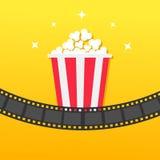Popkornu pudełko Ekranowy pasek zaokrąglający Film Kinowa ikona w płaskim projekta stylu Wystrzał kukurudzy ikona Żółty Gradiento Zdjęcie Stock