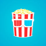 Popkornu wiadro w 3d szkieł kina ikonie Obraz Stock