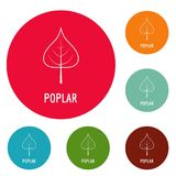 Poplar leaf icons circle set vector. Isolated on white background Royalty Free Stock Photography