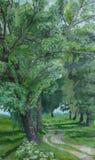 poplars för gångallé för oljemålning Arkivfoto