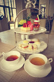 Popołudniowa herbata (Filtrujący wizerunek przetwarzający rocznika skutek) zdjęcia stock