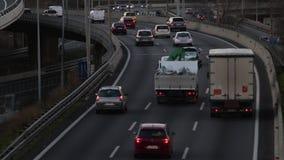 Popołudniowy scena ruch drogowy wejście Barcelona (czasu upływ) zbiory wideo