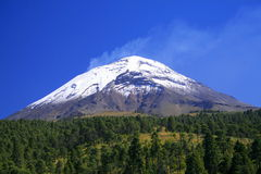 Popo volcano. View of the popocatepetl (smoking mountain in aztec) active volcano near mexico city Stock Photos