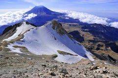Popocatepetl volcano, Mexico. Popocatepetl volcano, as viewed from high on neighboring Iztaccihuatl, Mexico Stock Image