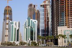 Popolamento dell'orizzonte di Doha Fotografia Stock