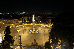 Popole square at night all lit up(rome-nigth-people). Piazza del Popolo where they organize events in rome Royalty Free Stock Image
