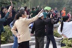 Popolo cinese di esercitazione di 'chi' del Tai, corsa del Xian Cina Fotografia Stock Libera da Diritti
