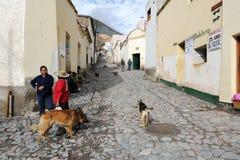 Popolo indiano sulle vie del iruya sull'Argentina le Ande fotografia stock