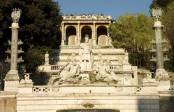 Popolo square, Rome. Italy. Monument on popolo square. steps lead up to the pincio park, Rome, Italy stock images