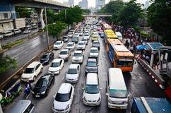 Popołudniowy ruchu drogowego dżem w Bangkok Obrazy Royalty Free