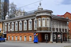 Popov' house. Architectural monument, Tyumen, Russia. The house was built in 1911-1912, it belonged to Popov Konstantin Vasilyevich and his spouse Popova Virinee Stock Images