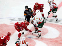A. Popov (9) and I. Yatsenko (50) on face-off Stock Photo