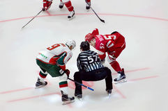 A. Popov (9) and A. Shvets-Rogovoy (57) on face-off Stock Photos