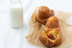 Popover with bottle of milk Royalty Free Stock Image