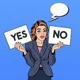 Poppa Art Business Woman Trying för att göra beslut Between ja eller inte royaltyfri illustrationer