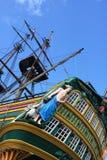 Poppa ed alberi della barca a vela Immagini Stock Libere da Diritti