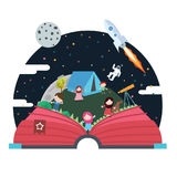 Poppa upp rymdskeppet för himmel för astronout för utrymme för bokbarnillustrationen Arkivbild